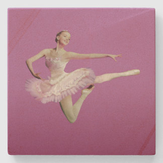 Leaping Ballerina in Pink and White Stone Coaster