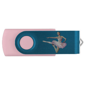 Leaping Ballerina in Pink and White Swivel USB 2.0 Flash Drive