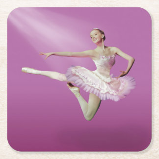Leaping Ballerina in Pink and White Square Paper Coaster