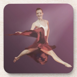 Leaping Ballerina in Red and Lavender Coaster