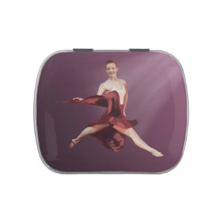 Leaping Ballerina in Red and Lavender Jelly Belly Tins