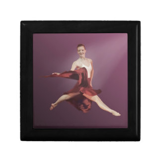 Leaping Ballerina in Red and Lavender Keepsake Box