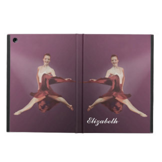 Leaping Ballerina in Red, Customizable Text Cover For iPad Air