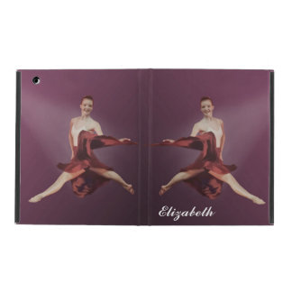 Leaping Ballerina in Red, Customizable Text iPad Cases