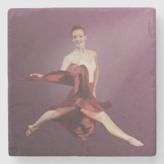 Leaping Ballerina in Red Stone Beverage Coaster