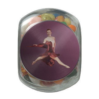 Leaping Ballerina in Red Glass Jar