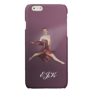 Leaping Ballerina in Red, Monogram Glossy iPhone 6 Case