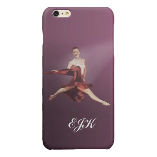 Leaping Ballerina in Red, Monogram Glossy iPhone 6 Plus Case