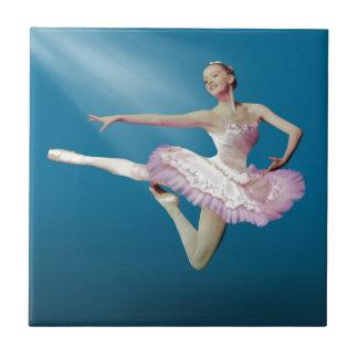 Leaping Ballerina on Blue Ceramic Tile