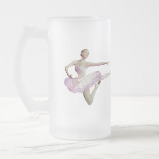 Leaping Ballerina on Blue Frosted Glass Beer Mug