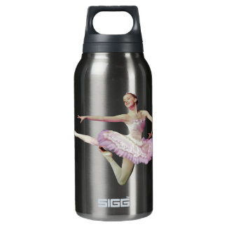 Leaping Ballerina on Blue Insulated Water Bottle