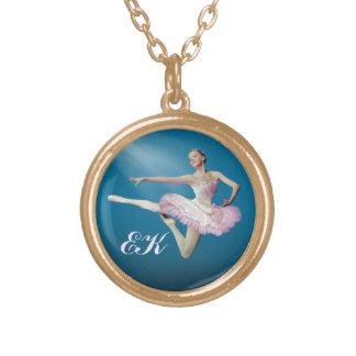 Leaping Ballerina on Blue, Monogram Custom Necklace