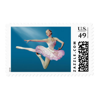 Leaping Ballerina on Blue Postage