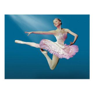 Leaping Ballerina on Blue Postcard