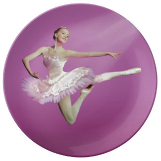 Leaping Ballerina on Pink Porcelain Plate