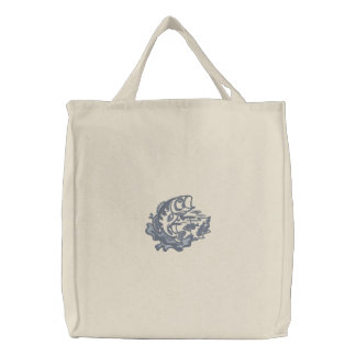 Leaping Bass Embroidered Tote Bags