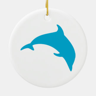 Leaping Blue Dolphin Silhouette Ceramic Ornament