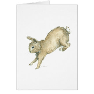 Leaping Bunny Blank Note Card - White