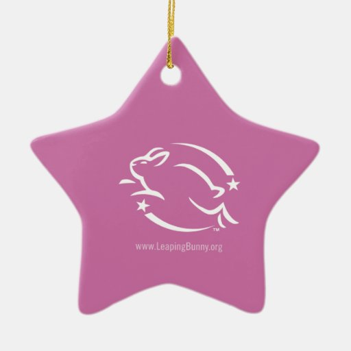 Leaping Bunny Logo Double-Sided Star Ceramic Christmas Ornament