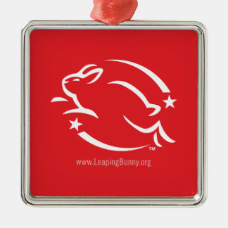 Leaping Bunny Logo Square Metal Christmas Ornament