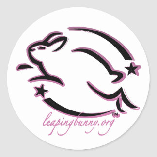 Leaping Bunny Outline Classic Round Sticker