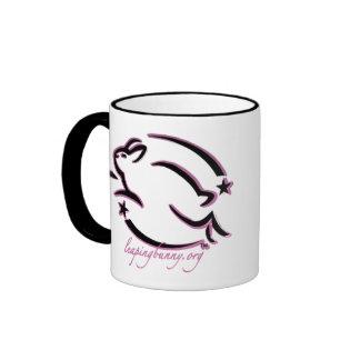 Leaping Bunny Outline Ringer Coffee Mug