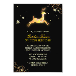Leaping Caribou Winter Bridal Shower Card