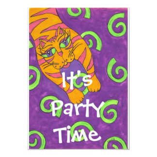 Leaping Cat  It's Party Time Invitation