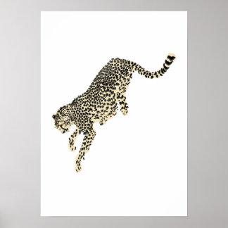 Leaping Cheetah Poster
