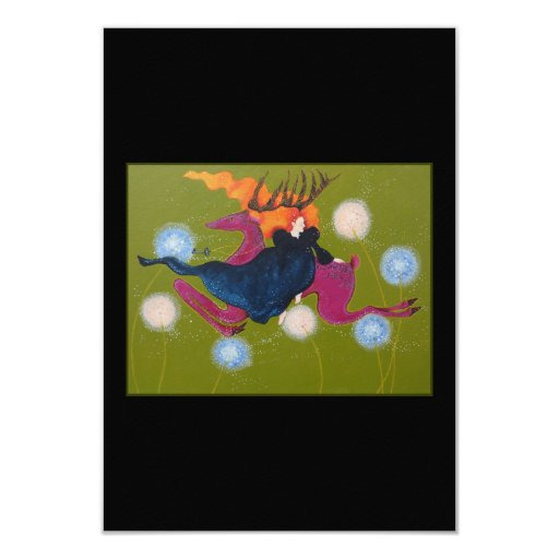 "Leaping Deer. 3.5"" X 5"" Invitation Card"