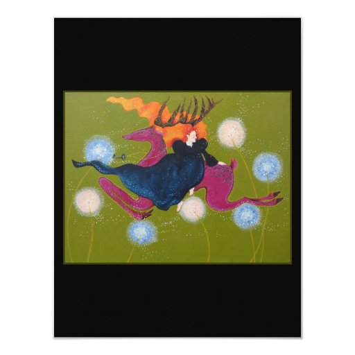Leaping Deer. 4.25x5.5 Paper Invitation Card