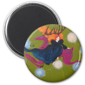 Leaping Deer. 2 Inch Round Magnet