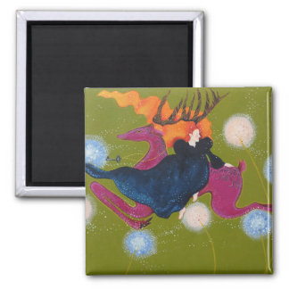 Leaping Deer. 2 Inch Square Magnet