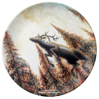 Leaping Deer with Pine Trees Dinner Plate