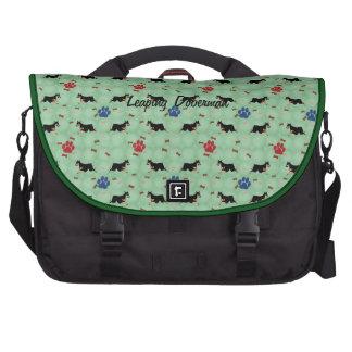 Leaping Doberman Laptop Messenger Bag