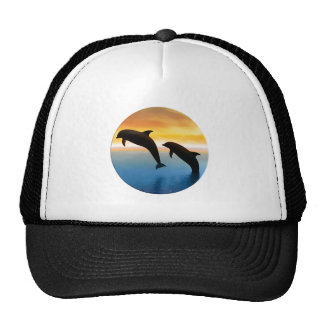 Leaping Dolphin at Sunset in Circle Trucker Hat