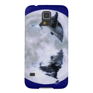 Leaping Dolphin & Moon Marine Art Cell Phone Case Galaxy S5 Cases