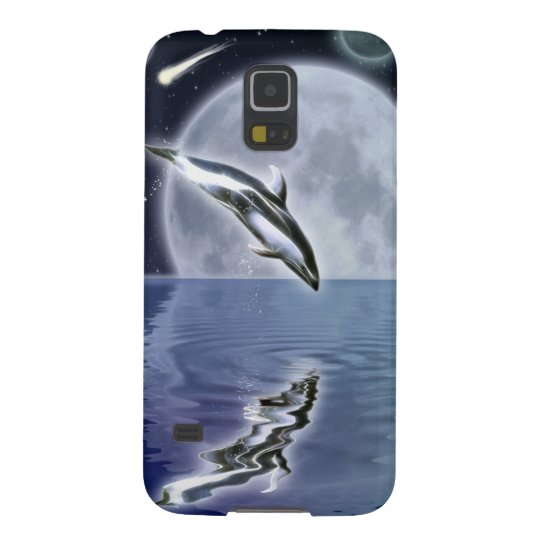 Leaping Dolphin & Moon Marine Art Cell Phone Case