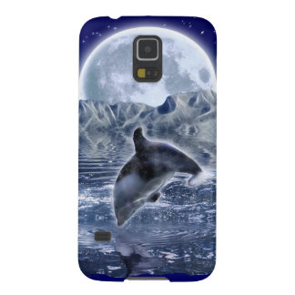 Leaping Dolphin & Moon Marine-life Cell Phone Case Cases For Galaxy S5