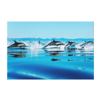 Leaping Dolphin Pod Canvas Print