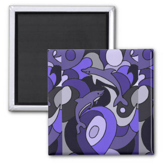 Leaping Dolphins Art Abstract Magnet