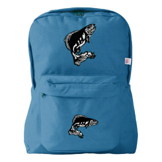 Leaping Fish Fisherman's Angling Design American Apparel™ Backpack