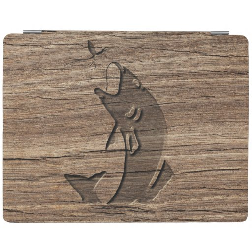 Leaping fish relief carving on exotic hardwood ipad smart