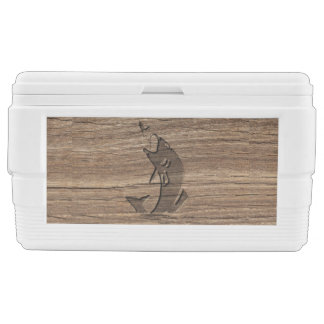 Leaping Fish Relief Carving On HardWood Cooler