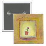 Leaping flower pot floating to anywhere fun ART Pinback Button