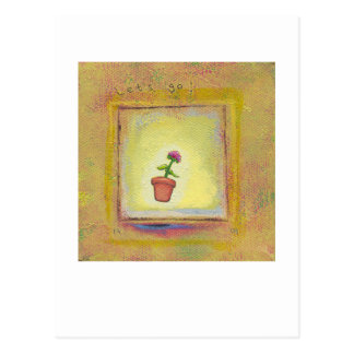 Leaping flower pot floating to anywhere fun ART Postcard