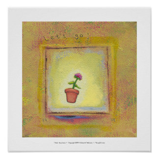 Leaping flower pot floating to anywhere fun ART Posters
