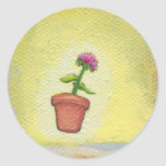 Leaping flower pot floating to anywhere fun ART Sticker