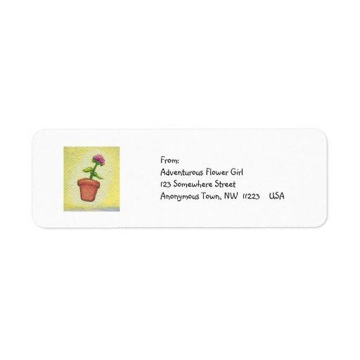 Leaping flower pot - Fun art for gardeners Custom Return Address Label