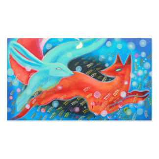 Leaping Fox with Hare. Double-Sided Standard Business Cards (Pack Of 100)